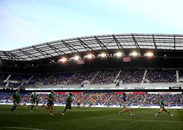 HARRISON, NJ - MARCH 12: Sean Maitland #15 of London Irish carries the ball in the first half against Saracens during the Aviva Premiership match on March 12, 2016 at Red Bull Arena in Harrison, New Jersey. (Photo by Elsa/Getty Images)