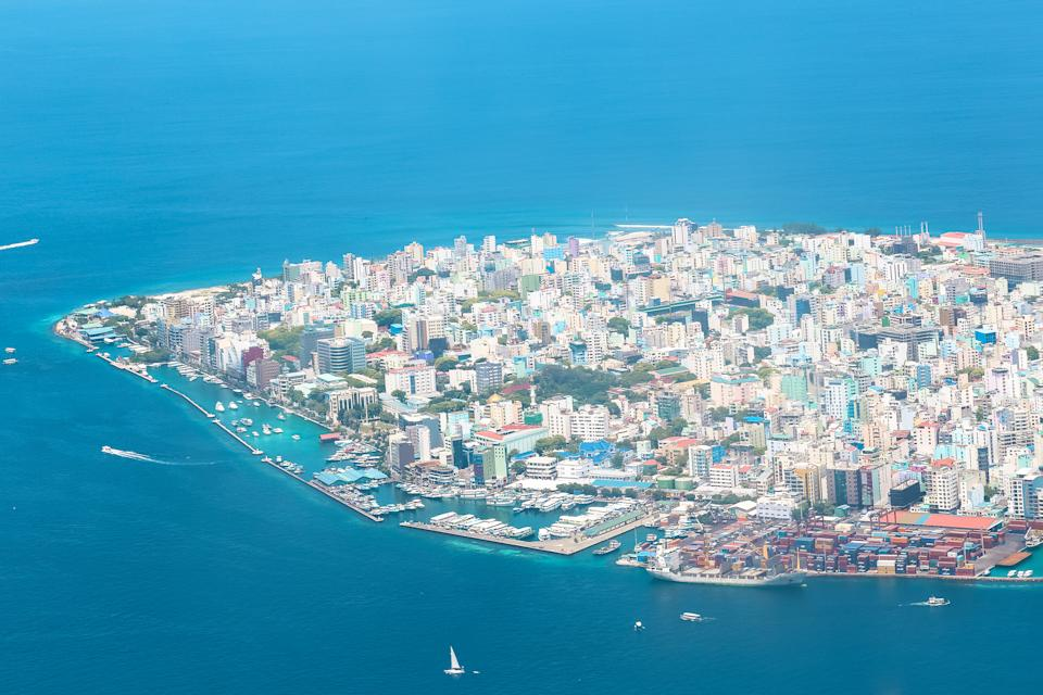 Aerial view of the city of Malé in the Maldives