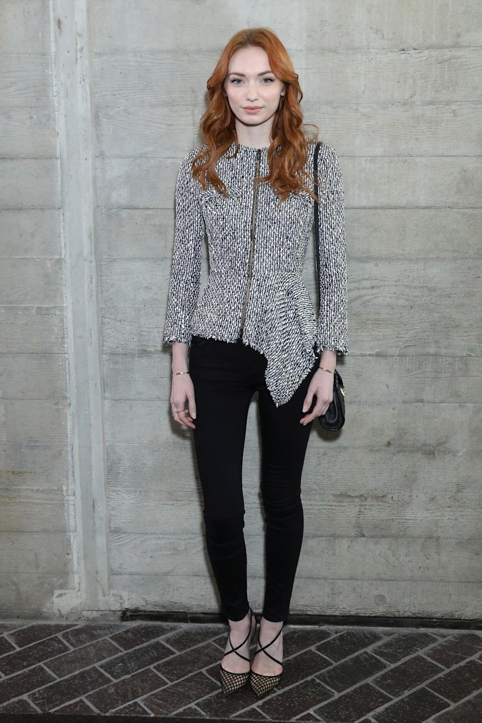 <p>Eleanor Tomlinson donned a chic boucle jacket. <i>[Photo: Getty]</i> </p>