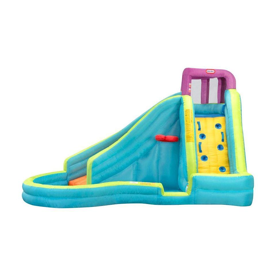 """<p><strong>Little Tikes</strong></p><p>amazon.com</p><p><strong>$379.00</strong></p><p><a href=""""https://www.amazon.com/dp/B00AU0O88U?tag=syn-yahoo-20&ascsubtag=%5Bartid%7C2089.g.1419%5Bsrc%7Cyahoo-us"""" rel=""""nofollow noopener"""" target=""""_blank"""" data-ylk=""""slk:Shop Now"""" class=""""link rapid-noclick-resp"""">Shop Now</a></p><p>This super cool inflatable pool features a slippery slide that will instantly turn your backyard into the hottest one on the block! </p><p>This inflatable pool was designed so that all of the action happens on one side, which means it's much easier for parents to keep an eye on the shenanigans. </p>"""