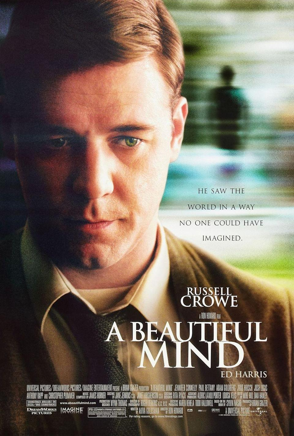 <p>A Beautiful Mind was — simply beautiful. Released on December 21, 2001, the film took home Oscars for Best Picture, Best Supporting Actress (Jennifer Connelly), Best Director (Ron Howard) and Best Adapted Screenplay. John Forbes Nash Jr. (Russell Crowe) is a mathematical genius who found himself on the cusp of worldwide acclaim from one of his discoveries. His story is inspired by events in the biography A Beautiful Mind by Sylvia Nasar. </p>