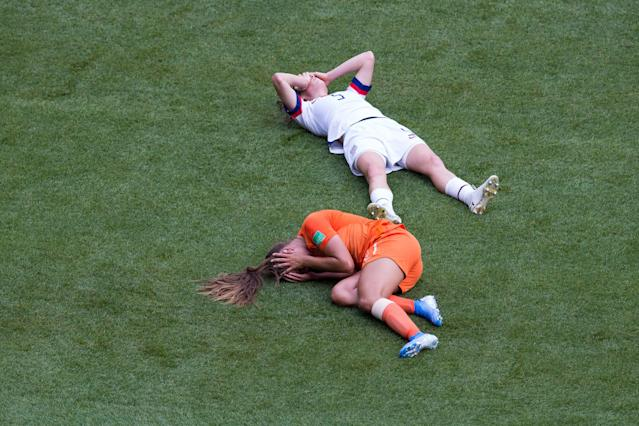 The scary collision between Kelley O'Hara (5) and the Netherlands' Lieke Martens in the Women's World Cup final was a high-profile head injury incident. The NWSL and American soccer are trying to address the problem. (Getty)