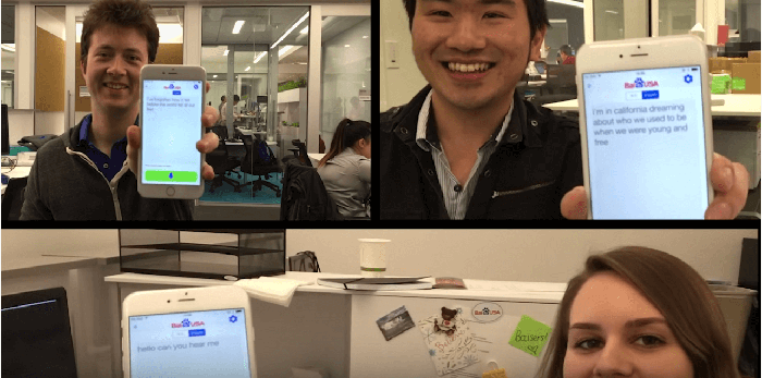 Baidu researchers at work showing off deep learning features running on their smartphones.