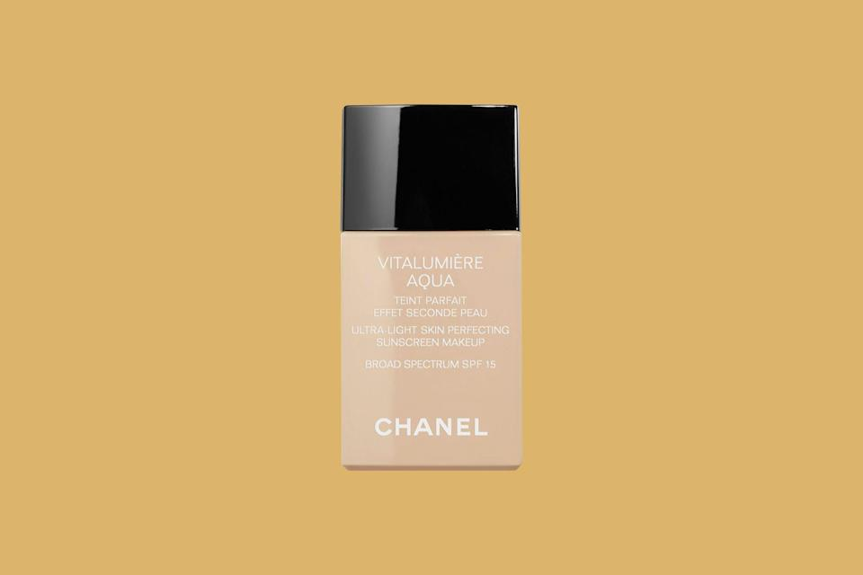 """<p>For the most """"beautiful, radiant finish"""" that perfects, not covers skin, makeup artist and Stila's editorial director of makeup, <a href=""""https://www.instagram.com/charlieriddle/"""" rel=""""nofollow noopener"""" target=""""_blank"""" data-ylk=""""slk:Charlie Riddle"""" class=""""link rapid-noclick-resp"""">Charlie Riddle</a>, says to bookmark this unparalleled, <a href=""""https://www.marthastewart.com/1542135/spf-in-makeup-protection-level-explained"""" rel=""""nofollow noopener"""" target=""""_blank"""" data-ylk=""""slk:SPF-packed formula"""" class=""""link rapid-noclick-resp"""">SPF-packed formula</a> by Chanel.</p> <p><strong><em>Shop Now: </em></strong><em>Chanel Vitalumiere Aqua Ultra-Light Skin Perfecting Sunscreen Makeup, $50, <a href=""""https://click.linksynergy.com/deeplink?id=93xLBvPhAeE&mid=1237&murl=https%3A%2F%2Fwww.nordstrom.com%2Fs%2Fchanel-vitalumiere-aqua-ultra-light-skin-perfecting-sunscreen-makeup-broad-spectrum-spf-15%2F3142708&u1=MSL13ExpertApprovedFoundationsforDrySkinrhaarsBeaGal7986001202009I"""" rel=""""nofollow noopener"""" target=""""_blank"""" data-ylk=""""slk:nordstrom.com"""" class=""""link rapid-noclick-resp"""">nordstrom.com</a></em><em>.</em></p>"""