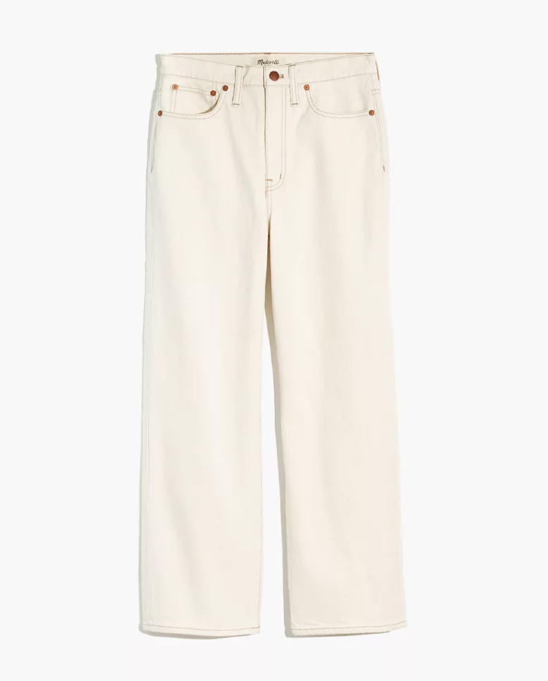 "<p><strong>Madewell</strong></p><p>madewell.com</p><p><a href=""https://go.redirectingat.com?id=74968X1596630&url=https%3A%2F%2Fwww.madewell.com%2Fslim-wide-leg-jeans-in-cloud-lining-AN329.html&sref=https%3A%2F%2Fwww.marieclaire.com%2Ffashion%2Fg34271306%2Fmadewell-jeans-sale-october-2020%2F"" rel=""nofollow noopener"" target=""_blank"" data-ylk=""slk:Shop Now"" class=""link rapid-noclick-resp"">Shop Now</a></p><p><strong><del>$135</del> <del>$90</del> </strong><strong>$63 (30% off</strong>)</p><p>Cream-colored denim is absolutely okay to wear after Labor Day and in fact, very on trend these last few seasons. Here, a wide leg pair to pair that you can pair with your favorite white sweaters for a sleek, monochromatic look.</p>"
