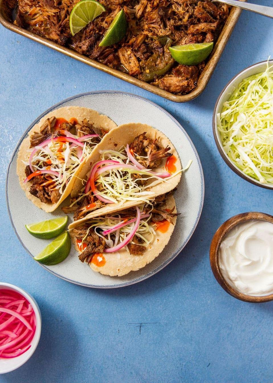 """<p>You can't beat only 35 minutes cooking time.</p><p>Get the recipe from <a href=""""https://www.delish.com/cooking/recipe-ideas/a30142746/instant-pot-pork-carnitas-recipe/"""" rel=""""nofollow noopener"""" target=""""_blank"""" data-ylk=""""slk:Delish"""" class=""""link rapid-noclick-resp"""">Delish</a>.</p>"""