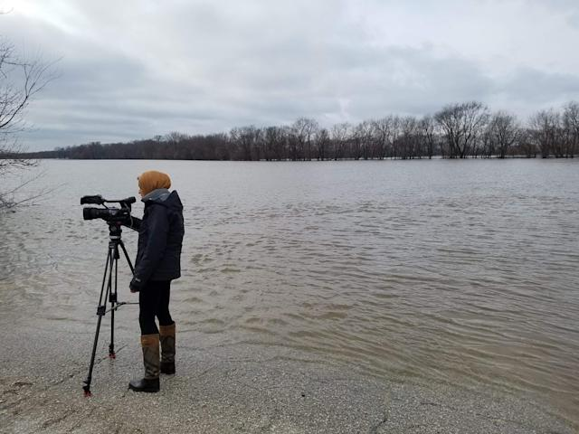 Tahera Rahman prepares a live shot as a reporter for WHBF-TV in Rock Island, Illinois. (WHBF-TV)