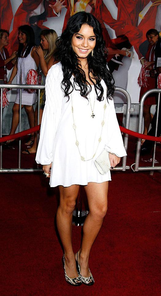"""Zac's main squeeze Vanessa Hudgens pops a pose in a flirty white frock and patterned pumps. <a href=""""http://www.wireimage.com"""" target=""""new"""">WireImage.com</a> - October 1, 2008"""