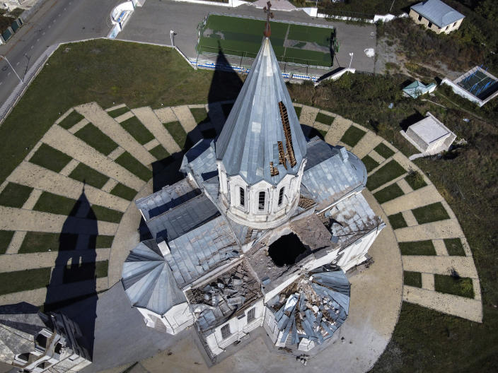 A view of the Holy Savior Cathedral, damaged by shelling by Azerbaijan's artillery during a military conflict in Shushi, the separatist region of Nagorno-Karabakh, Saturday, Oct. 24, 2020. The heavy shelling forced residents of Stepanakert, the regional capital of Nagorno-Karabakh, into shelters, as emergency teams rushed to extinguish fires. Nagorno-Karabakh authorities said other towns in the region were also targeted by Azerbaijani artillery fire. (AP Photo)