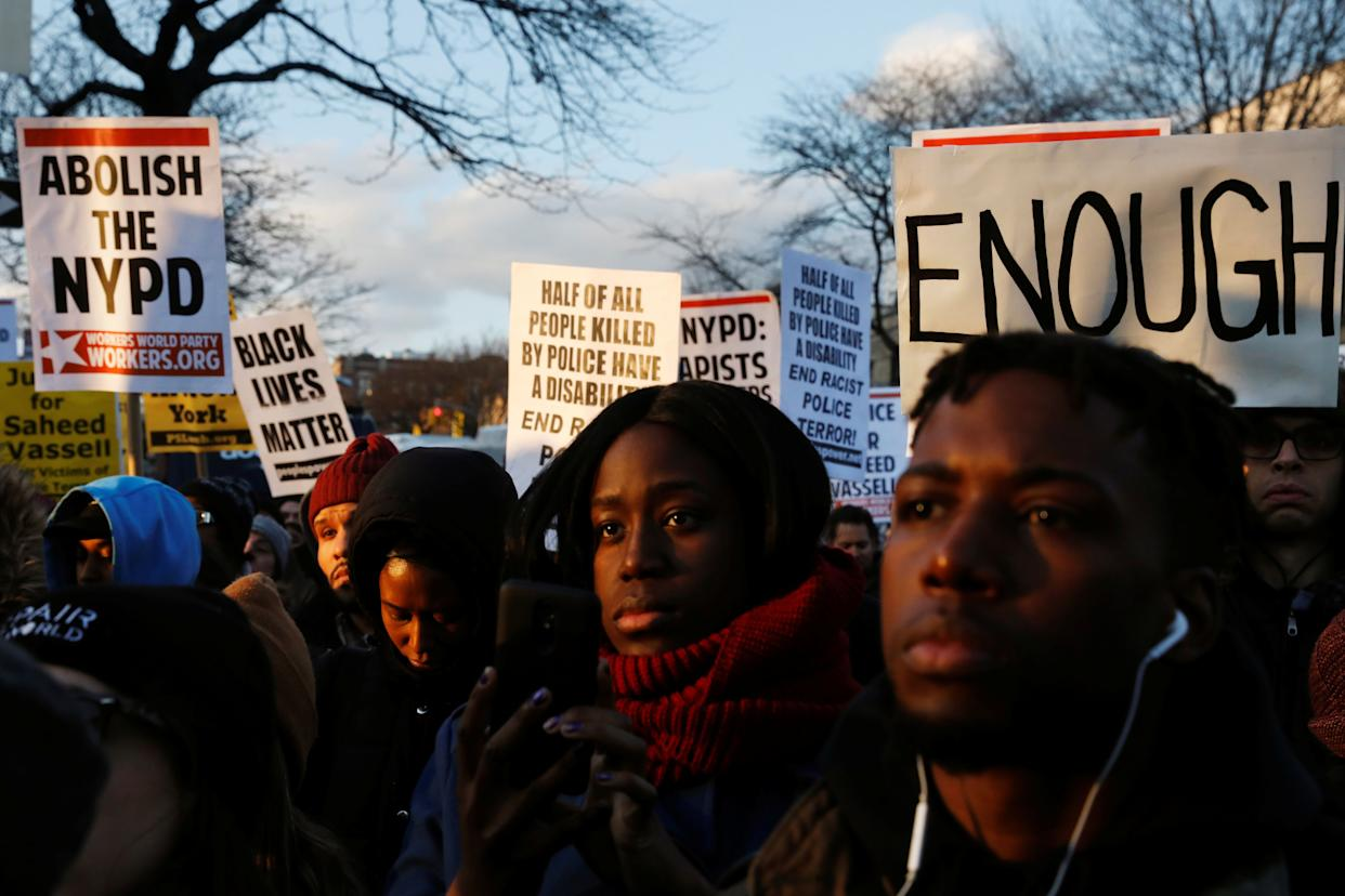 Demonstrators gather to protest the killing of Saheed Vassell in the Brooklyn borough of New York on April 5. (Photo: Lucas Jackson / Reuters)