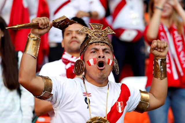 Soccer Football - World Cup - Group C - Peru vs Denmark - Mordovia Arena, Saransk, Russia - June 16, 2018 Peru fan inside the stadium before the match REUTERS/Max Rossi TPX IMAGES OF THE DAY