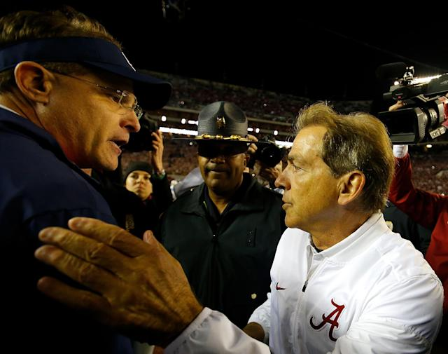 Will Alabama's Nick Saban be celebrating another win over Auburn's Gus Malzahn on Saturday? (Getty)