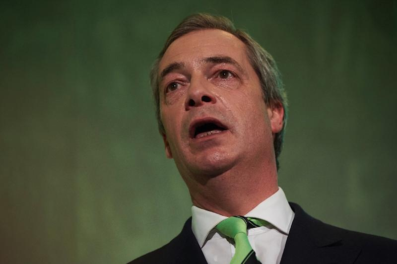 Nigel Farage, leader of the UK independence Party (UKIP) speaks at a public meeting by pro-Brexit campaigners in central London on February 19, 2016 (AFP Photo/Niklas Halle'N)
