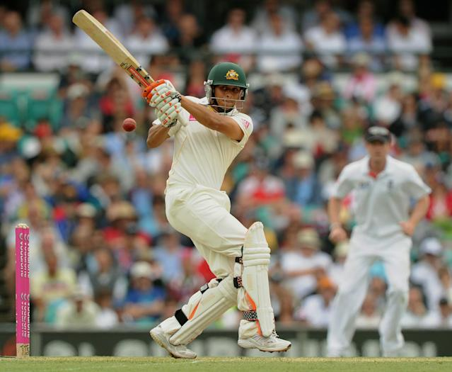 Australia's Usman Khawaja plays a pull shot on day one of the fifth Ashes cricket Test against England at the Sydney Cricket Ground on January 3, 2011. Khawaja was out for 37 runs. IMAGE STRICTLY RESTRICTED TO EDITORIAL USE - STRICTLY NO COMMERCIAL USE AFP PHOTO / Greg WOOD (Photo credit should read GREG WOOD/AFP/Getty Images)