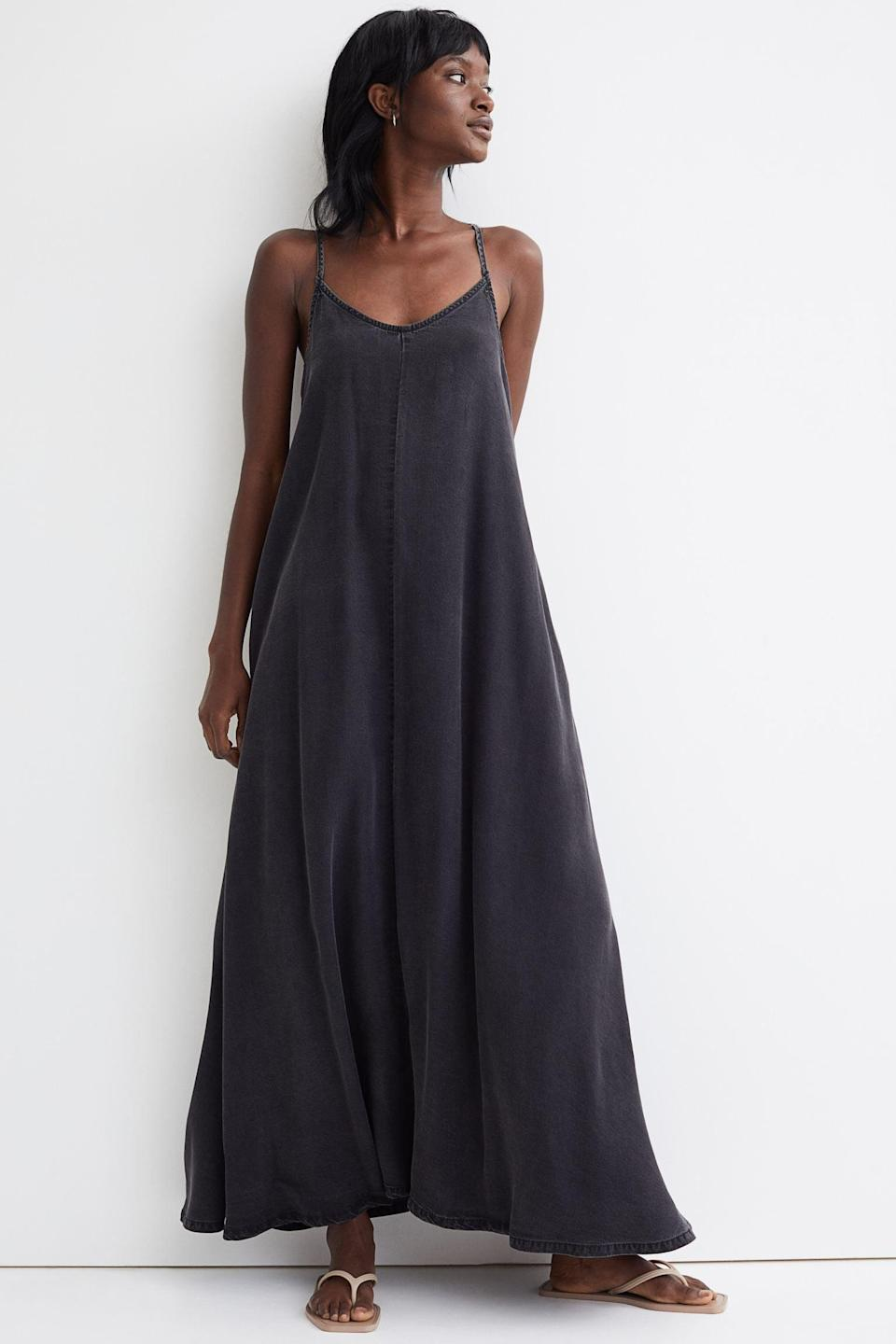 <p>This <span>Wide-cut Lyocell Dress</span> ($40) will look good with slide sandals for a day about town, as it will with some kitten heels and a chunky necklace for a night out with friends.</p>