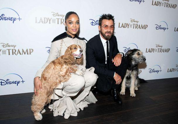 PHOTO: Tessa Thompson and Justin Theroux attend Disney+'s 'Lady and the Tramp' New York Screening at iPic Theater, Oct. 22, 2019, in New York City. (Noam Galai/Getty Images)