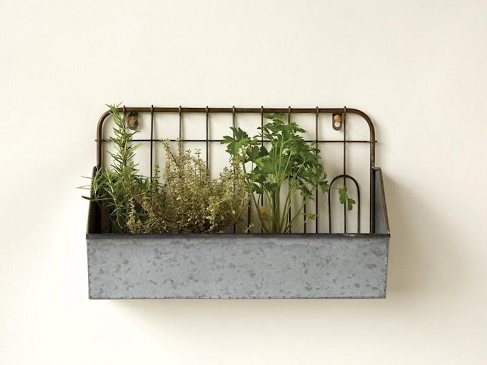 "This top-reviewed galvanized metal planter can be mounted to a fence or wall. $53, Birch Lane. <a href=""https://www.birchlane.com/--Dirksen-Rectangular-Metal-Wall-Planter-XMGS9434-L349-K~WLFR8323.html"" rel=""nofollow noopener"" target=""_blank"" data-ylk=""slk:Get it now!"" class=""link rapid-noclick-resp"">Get it now!</a>"