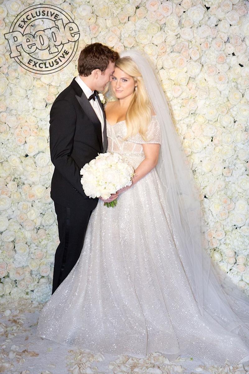 1c4be44dd7a All About Meghan Trainor s  Glamorous  and  Modern  Wedding Dress