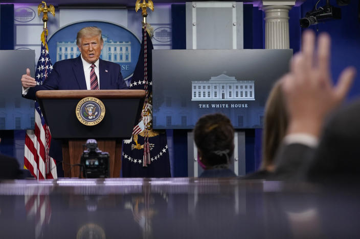 President Donald Trump gestures while speaking during a news conference at the White House, Sunday, Sept. 27, 2020, in Washington. (AP Photo/Carolyn Kaster)
