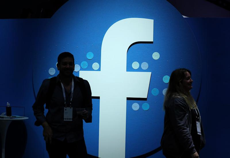 The Facebook logo is displayed during the F8 Facebook Developers conference on April 30, 2019 in San Jose, California: Justin Sullivan/Getty Images