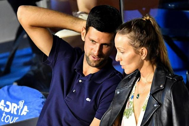 Serbian tennis player Novak Djokovic, pictured with his wife Jelena during a match in Belgrade on June 14, 2020, has tested negative for COVID-19 (AFP Photo/Andrej ISAKOVIC)