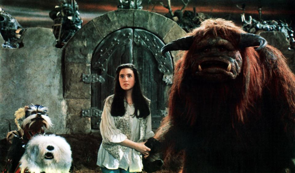 Sarah (Jennifer Connelly) is flanked by her companions Sir Didymus and Ludo in Jim Henson's 1986 fantasy favorite,