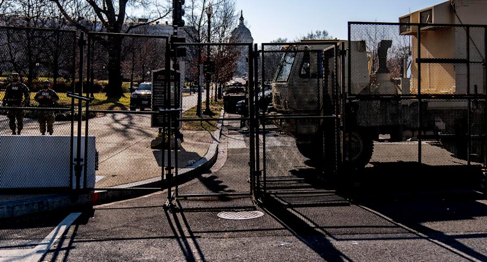Fences and concrete barriers have been erected to block the public from parts of Downtown Washington. Source: AAP
