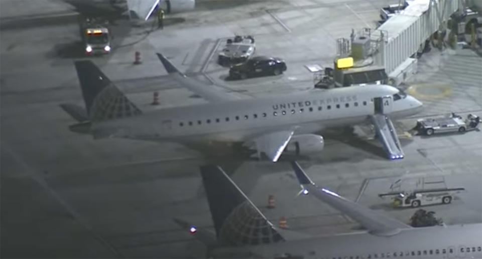 A United Express plane sits on the tarmac at LAX.