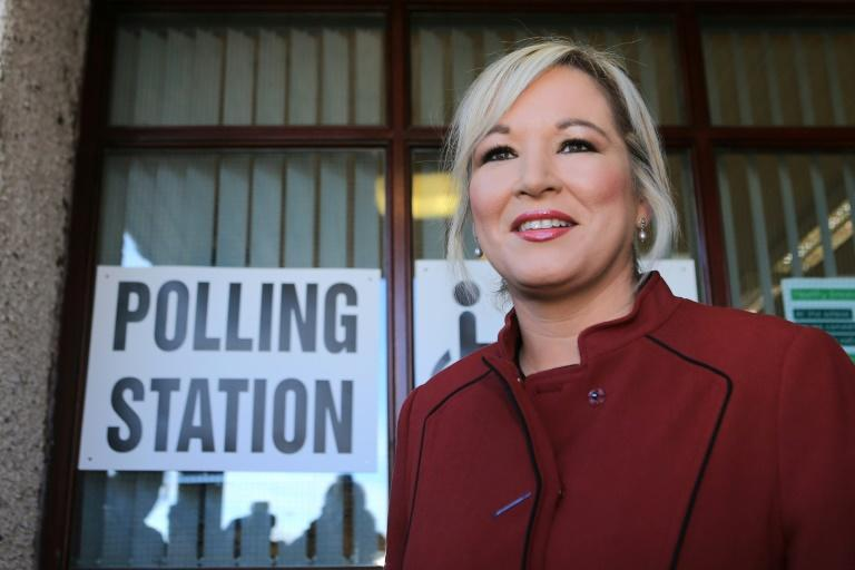 Sinn Fein's leader in Northern Ireland Michelle O'Neill leaves a polling station after casting her vote n March 2, 2017