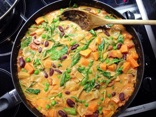 "<p>This colourful vegan <a href=""http://vegangela.com/2013/09/20/african-peanut-and-sweet-potato-stew/"">recipe</a> puts black beans and sweet potato centre stage with oodles of garlic and punchy ginger. Perfect for a gloomy winter's night.</p><p><i>[Photo: Vegangela]</i></p>"
