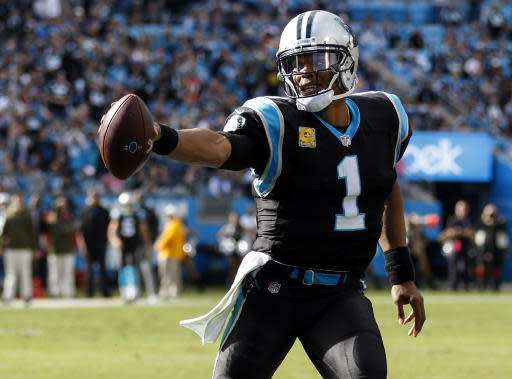 FILE - In this Sunday, Nov. 4, 2018, file photo, Carolina Panthers quarterback Cam Newton runs with the football against the Tampa Bay Buccaneers in the second half of an NFL football game in Charlotte, N.C. The Panthers face the Steelers on Thursday in Pittsburgh. (AP Photo/Nell Redmond, File)
