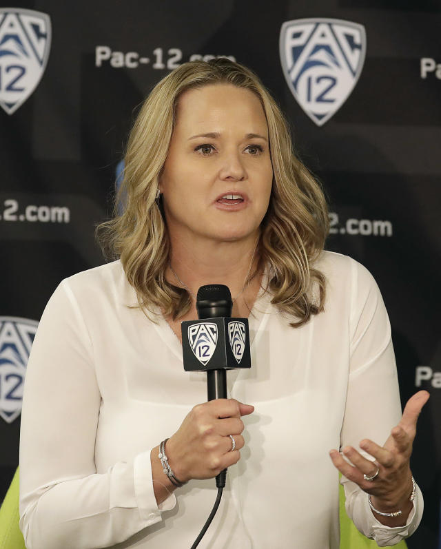 Utah head coach Lynne Roberts speaks during NCAA college basketball Pac-12 women's media day in San Francisco, Wednesday, Oct. 10, 2018. (AP Photo/Jeff Chiu)