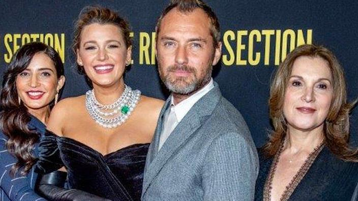 The Rhythm Section director Reed Morano with Blake Lively, Jude Law and Barbara Broccoli