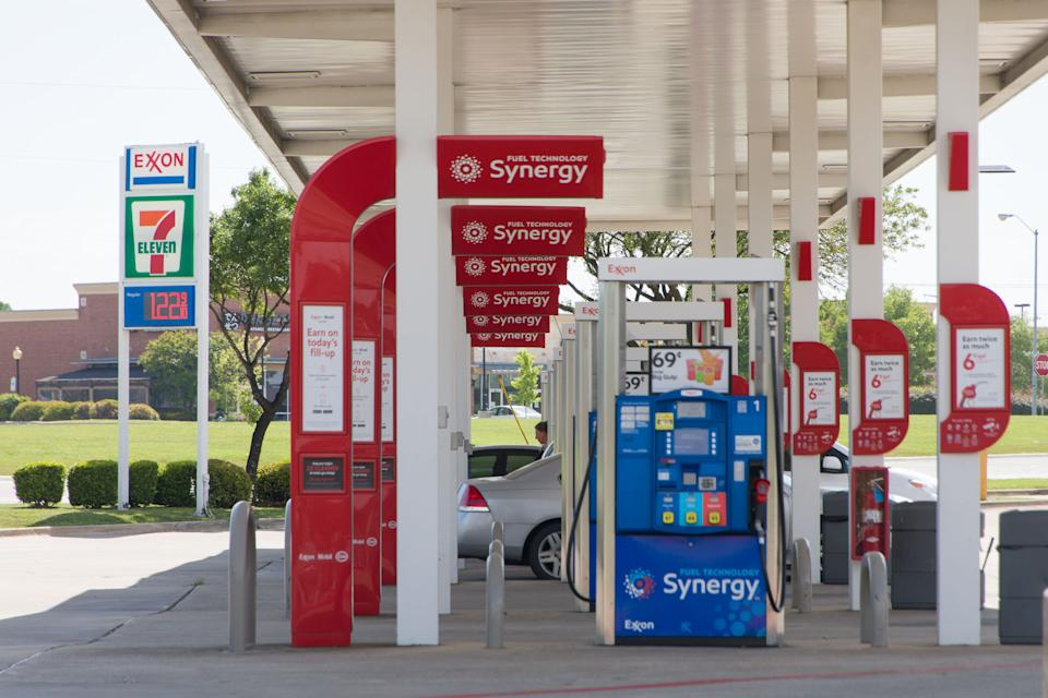 Photo taken on April 20, 2020 shows an Exxon gas station in Plano, Texas, the United States. U.S. oil prices crashed to the negative territory for the first time in history on Monday. (Photo by Dan Tian/Xinhua via Getty)