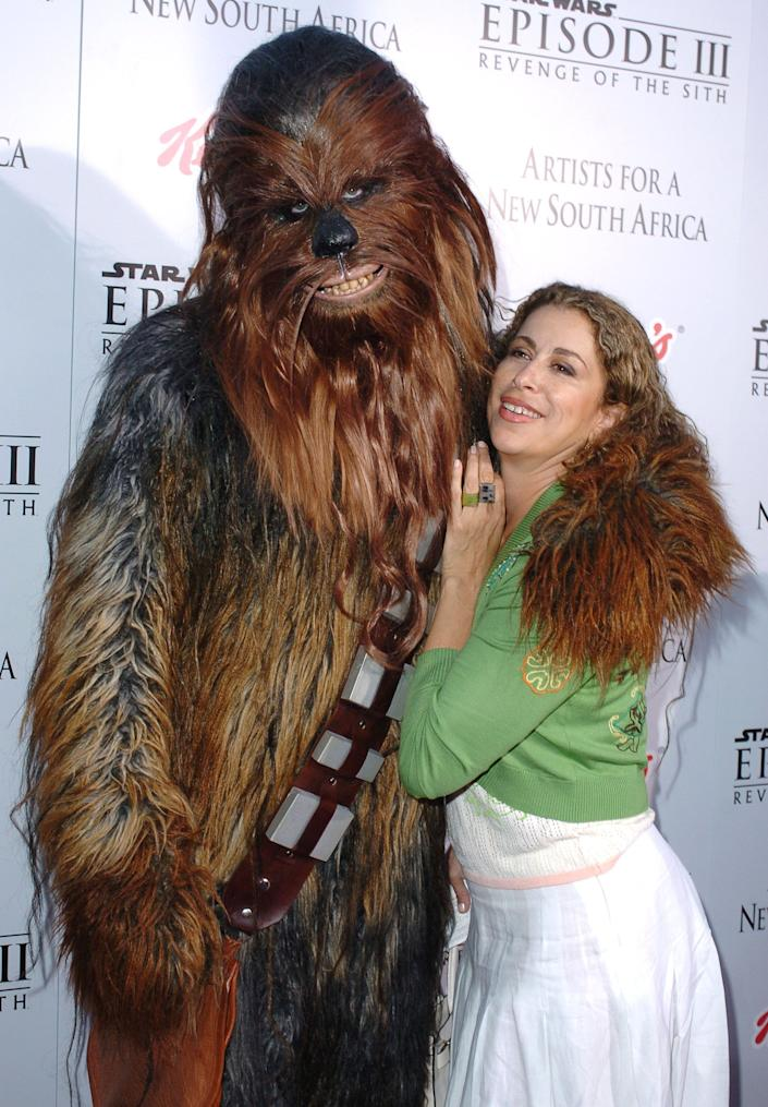 Chewbacca and Roma Maffia during 'Star Wars: Episode III - Revenge of The Sith' Premiere to Benefit Artists for a New South Africa Charity - Arrivals at Mann's Village Theater in Westwood, CA, United States. (Photo by SGranitz/WireImage)