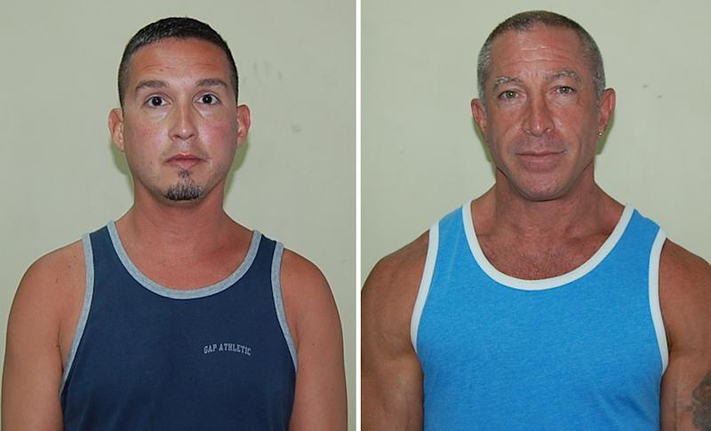 In this two picture combo, John Hart, 41, Dennis Jay Mayer, 43, both of Palm Springs, California, are seen in this police booking mug provided by the Dominica Police department, Thursday March 22, 2012.  The Southern California men have pleaded guilty to indecent exposure in Dominica following their arrest during a stop on a gay cruise of the Caribbean. Police said the two men were seen engaging in a public sex on a deck of a Celebrity Summit cruise ship by someone on the dock. (AP Photo/Dominica Police department)