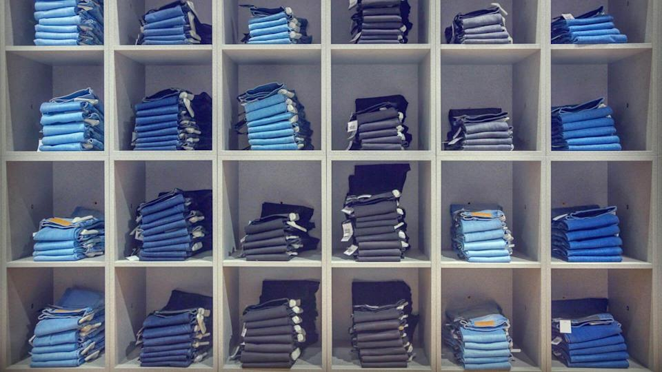 Jeans in the fashion store.