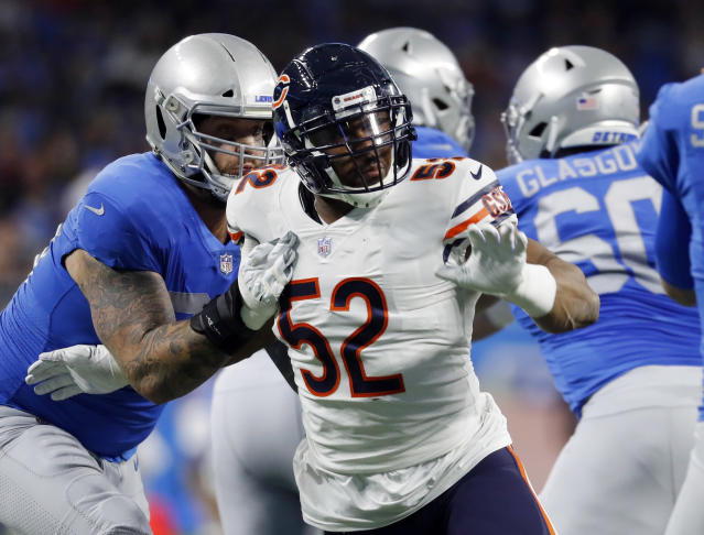 FILE - In this Nov. 22, 2018, file photo, Chicago Bears outside linebacker Khalil Mack (52) rushes against the Detroit Lions during the first half of an NFL football game in Detroit. Want to get the New York Giants attention this week. Just mention Mack. He has been a force in his first year with the Bears (8-3) and is expected to be a major obstacle for the Giants (3-8) Sunday. (AP Photo/Paul Sancya, File)