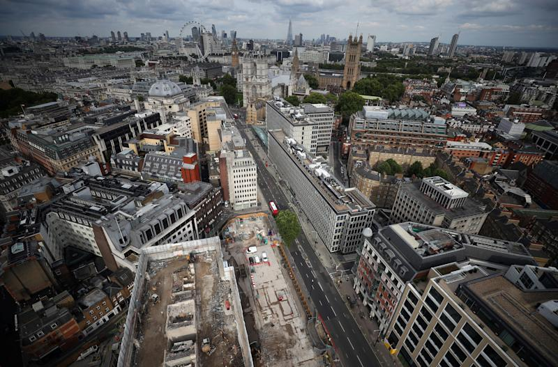 The city of London is seen from the Broadway development site in central London, Britain, August 23, 2017. Picture taken August 23, 2017. REUTERS/Hannah McKay