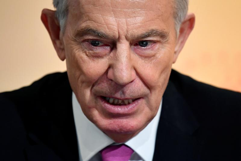 "Former British Prime Minister Tony Blair speaks during an interview with Axel Threlfall at a Reuters Newsmaker event on ""The challenging state of British politics"" in London, Britain, November 25, 2019. REUTERS/Toby Melville"