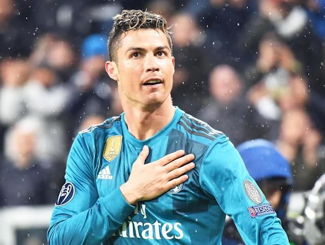 <p>Ronaldo celebrates after his stunning overhead kick against Juventus – possibly his best ever goal. </p>