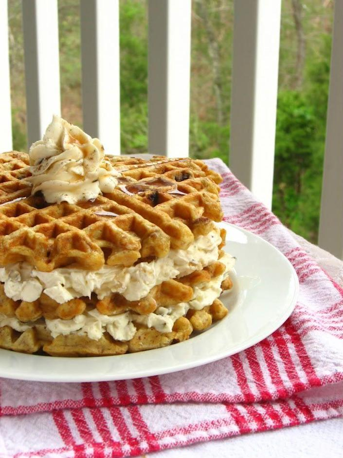 """<p>Did you ever think a layer cake could be this easy?</p><p>Get the recipe from <a rel=""""nofollow noopener"""" href=""""http://willowbirdbaking.com/2010/03/30/carrot-cake-waffles/"""" target=""""_blank"""" data-ylk=""""slk:Willow Bird Baking"""" class=""""link rapid-noclick-resp"""">Willow Bird Baking</a>.</p>"""
