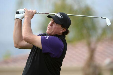 Jan 18, 2019; La Quinta, CA, USA; Phil Mickelson plays his shot from the third tee during the second round of the Desert Classic golf tournament at PGA West - Nicklaus Tournament Course. Mandatory Credit: Orlando Ramirez-USA TODAY Sports