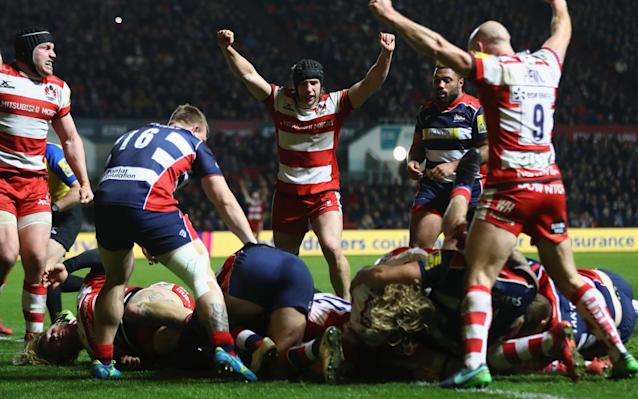 Billy Twelvetrees and Willi Heinz of Gloucester lead the celebrations  - Getty Images Europe