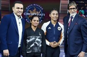 Fit and fine: Amitabh Bachchan shoots for KBC with Dutee Chand, Virender Sehwag, Hima Das post-discharge