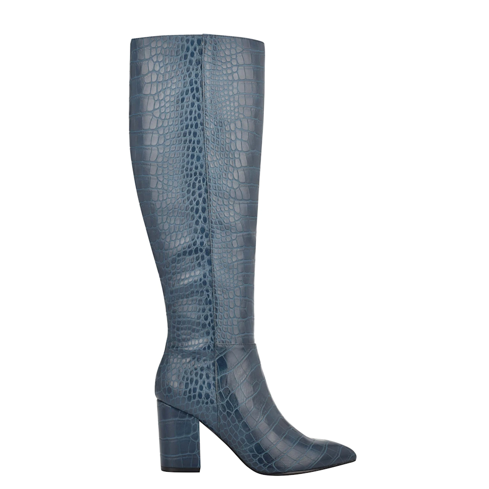 """<br><br><strong>Nine West</strong> Adaly Heeled Boots, $, available at <a href=""""https://go.skimresources.com/?id=30283X879131&url=https%3A%2F%2Fninewest.com%2Fcollections%2Fboots%2Fproducts%2Fadaly-heeled-boots-in-teal-embossed-croco"""" rel=""""nofollow noopener"""" target=""""_blank"""" data-ylk=""""slk:Nine West"""" class=""""link rapid-noclick-resp"""">Nine West</a>"""