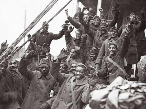 PHOTO: Members of the 369th Infantry Regiment (15th N.Y.) known as 'the Harlem Hellfighters' are pictured on the deck of the ship Stockholm, upon their return to the U.S. from Europe, on Feb. 12, 1919.  (NARA)