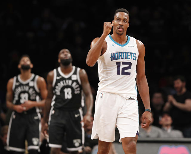 "<a class=""link rapid-noclick-resp"" href=""/nba/players/3818/"" data-ylk=""slk:Dwight Howard"">Dwight Howard</a>, fresh off his 32 point, 30 rebound performance, will serve a one-game suspension on Thursday after picking up his 16th technical foul of the season. (AP Photo/Kathy Willens)"