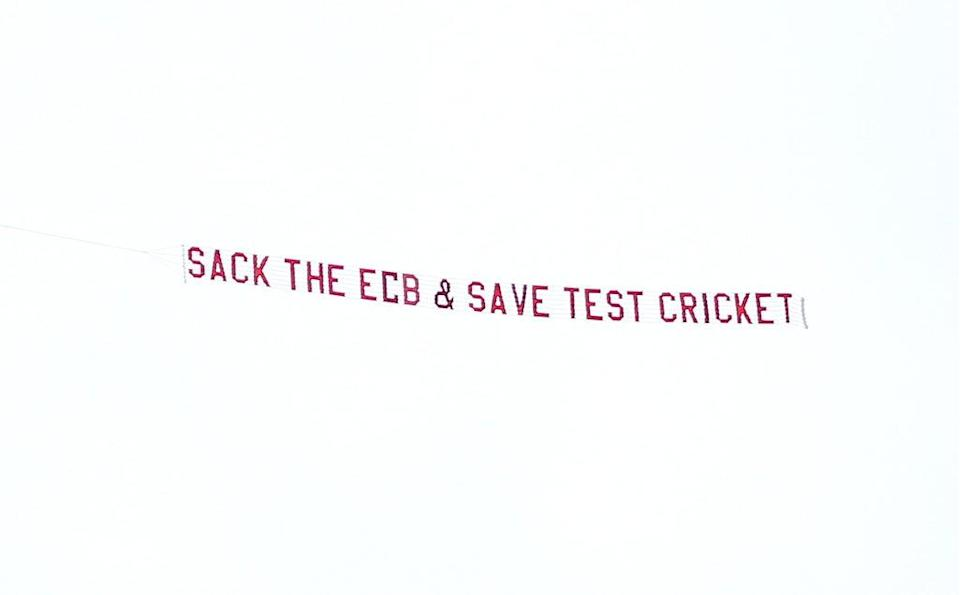 A plane with a banner reading 'Sack The ECB & Save Test Cricket' flies over ground during day three of the cinch Third Test match at the Emerald Headingley, Leeds. Picture date: Friday August 27, 2021. (PA Wire)