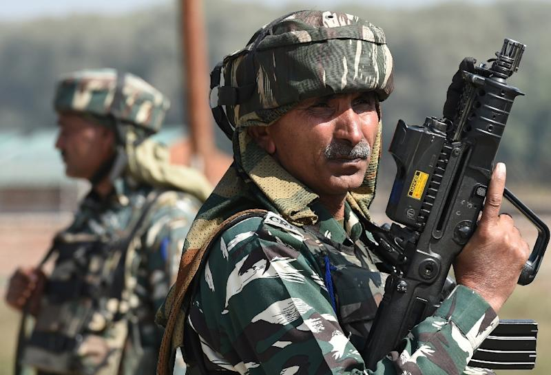 Indian paramilitary troopers after a gunfight in Kashmir in October: there have been clashes for decades in the disputed region